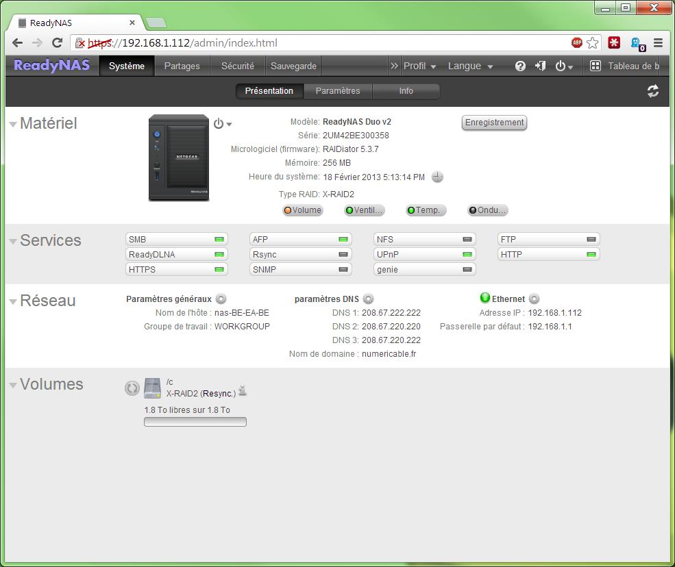 Netgear ReadyNAS Duo V2 en test - Logiciel - Comparatif de
